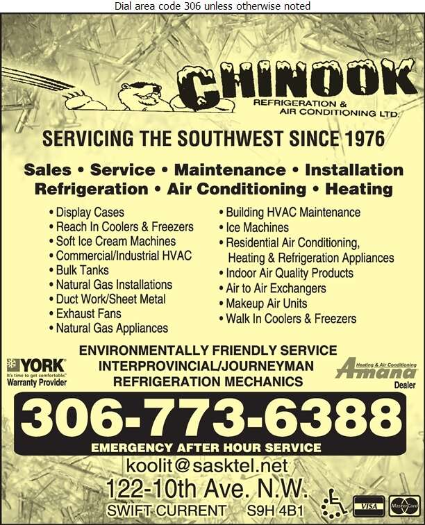 Chinook Refrigeration & Air Conditioning Ltd - Refrigeration Contractors Digital Ad