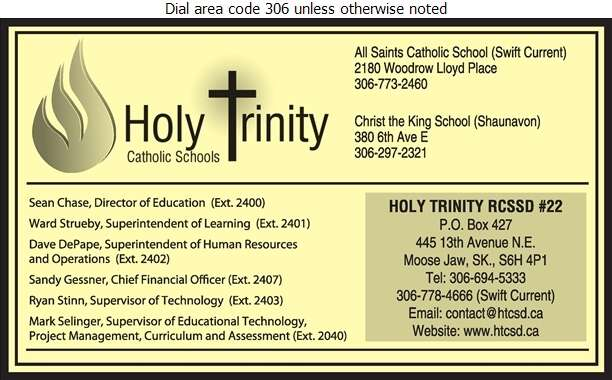 Holy Trinity Roman Catholic Separate School Division No 22 - Schools & Colleges Digital Ad