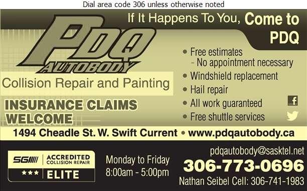 P D Q Autobody Ltd - Auto Body Repairing Digital Ad