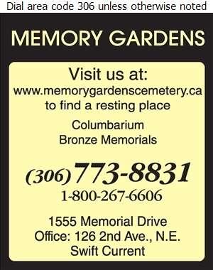 Memory Gardens Cemetery - Cemeteries Digital Ad