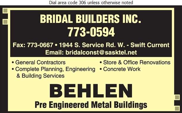 Bridal Builders Inc - Contractors General Digital Ad