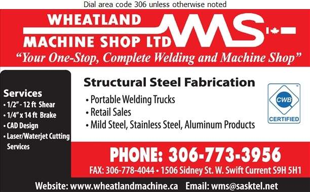 Wheatland Machine Shop Ltd - Machine Shops Digital Ad