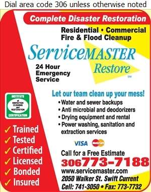 Servicemaster of Swift Current - Sewer Contractors Digital Ad