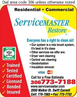 Servicemaster of Swift Current - Furnaces Cleaning Digital Ad