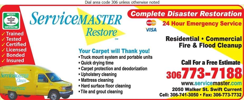 Servicemaster of Swift Current - Carpet & Rug Cleaners Digital Ad