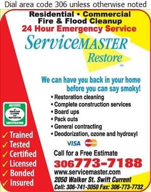 Servicemaster of Swift Current - Fire Damage Restoration Digital Ad
