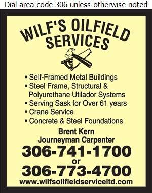 Wilf's Oilfield Service (87) Ltd (Res) - Buildings Metal Digital Ad