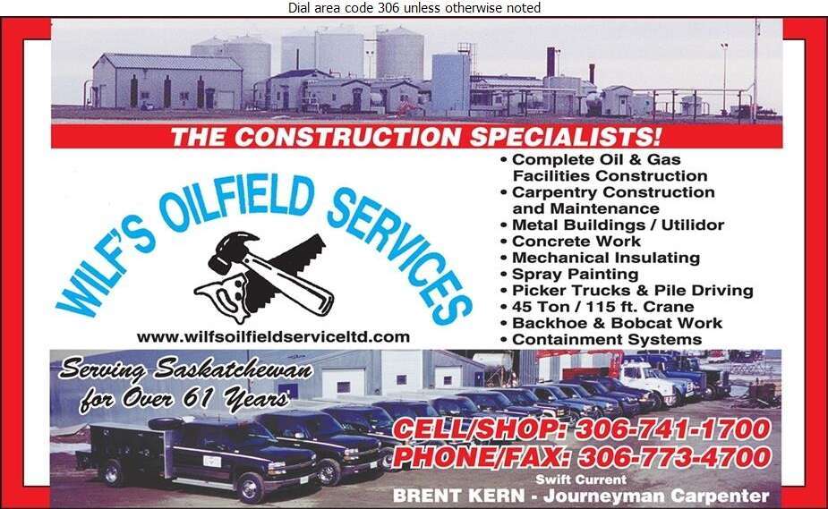 Wilf's Oilfield Service (87) Ltd - Oil & Gas Well Service Digital Ad