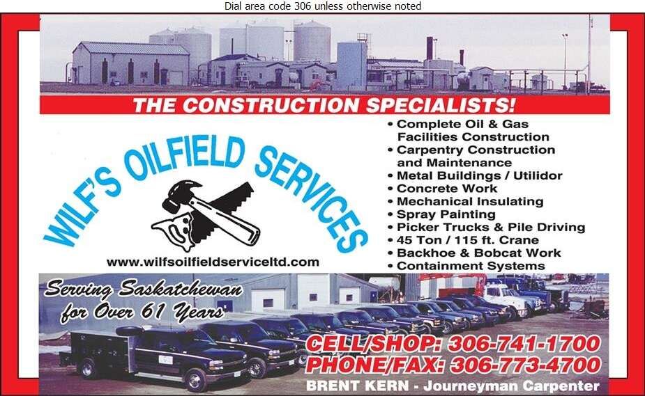 Wilf's Oilfield Service (87) Ltd (Res) - Oil & Gas Well Service Digital Ad