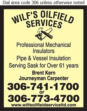 Wilf's Oilfield Service (87) Ltd - Insulation Contractors Cold & Heat Digital Ad