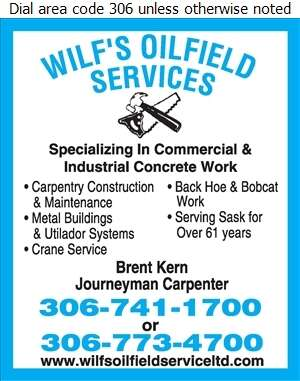 Wilf's Oilfield Service (87) Ltd - Concrete Contractors Digital Ad