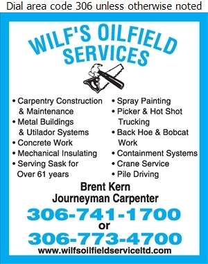 Wilf's Oilfield Service (87) Ltd (Res) - Contractors General Digital Ad