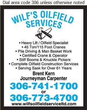 Wilf's Oilfield Service (87) Ltd (Res) - Crane Service Digital Ad