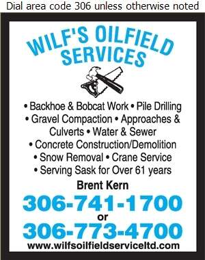 Wilf's Oilfield Service (87) Ltd - Excavating Contractors Digital Ad