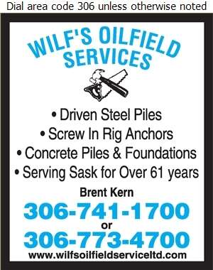 Wilf's Oilfield Service (87) Ltd - Piling Contractors Digital Ad