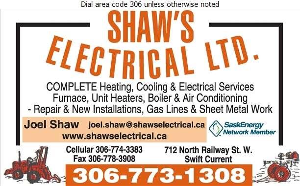 Shaw's Electrical Ltd - Heating Contractors Digital Ad