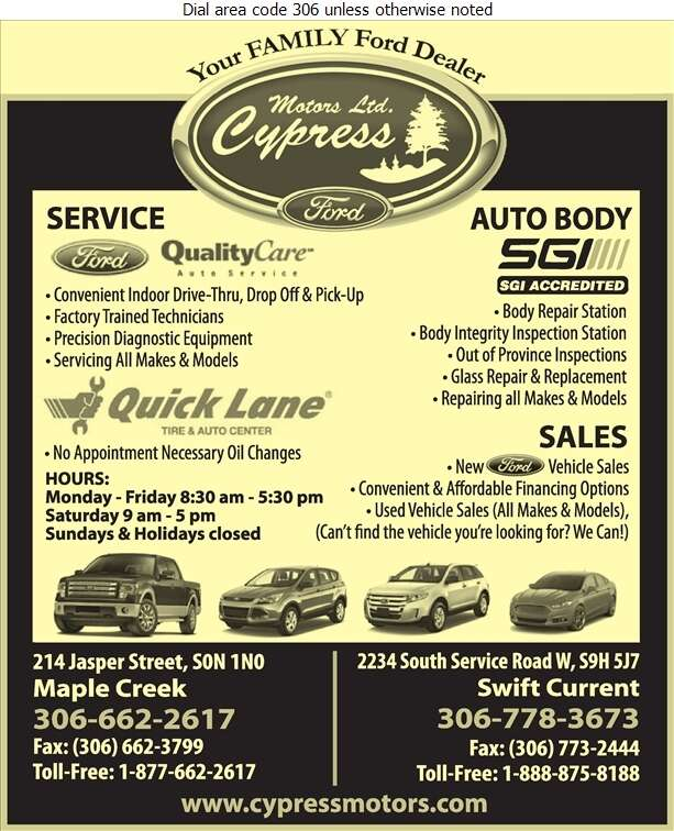 Cypress Motors (S C) Ltd - Auto Dealers New Cars Digital Ad