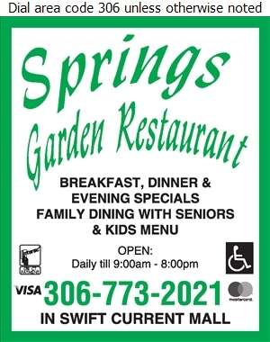 Springs Garden Restaurant - Restaurants Digital Ad
