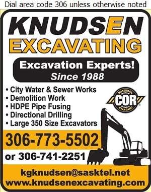 Knudsen Excavating - Excavating Contractors Digital Ad
