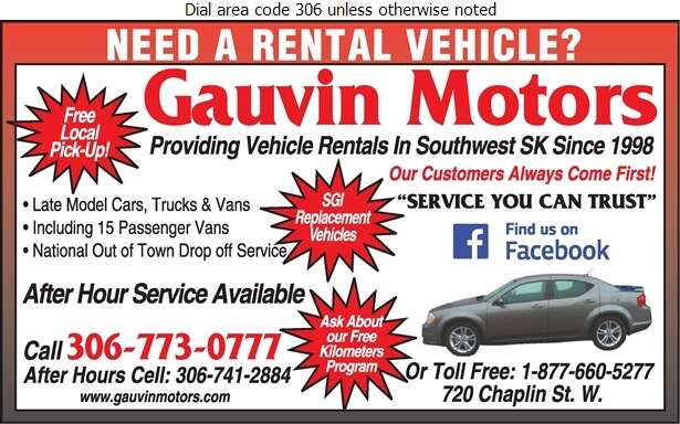 Gauvin Motors - Auto Renting & Leasing Digital Ad