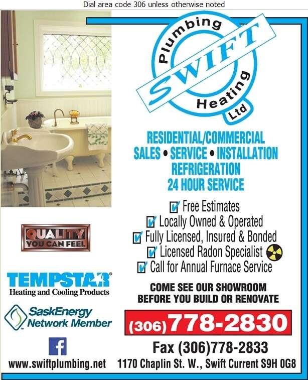 Swift Plumbing & Heating Ltd - Plumbing Contractors Digital Ad