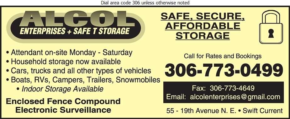Alcol Enterprises & Safe T Storage - Storage- Household & Commercial Digital Ad