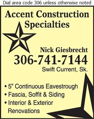 Accent Construction Specialties - Eavestroughing Digital Ad