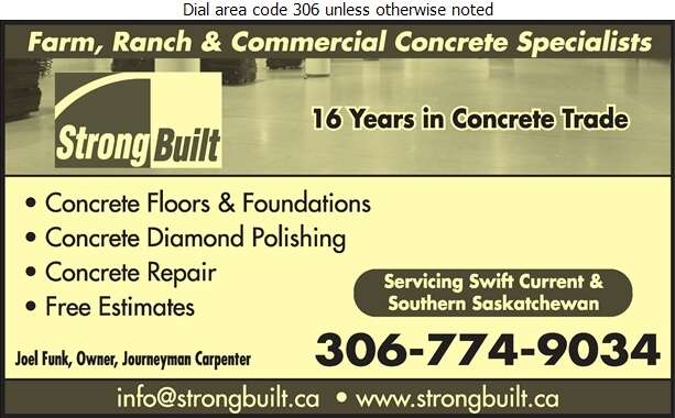 Strong Built Construction Ltd - Concrete Contractors Digital Ad