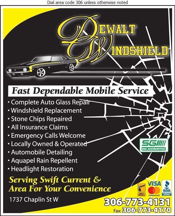 Dewalt Windshield Repair - Glass Auto, Float, Plate, Window Etc Digital Ad