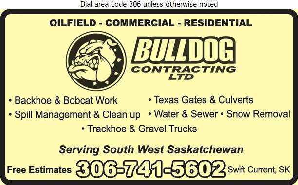 Bulldog Contracting Ltd - Excavating Contractors Digital Ad