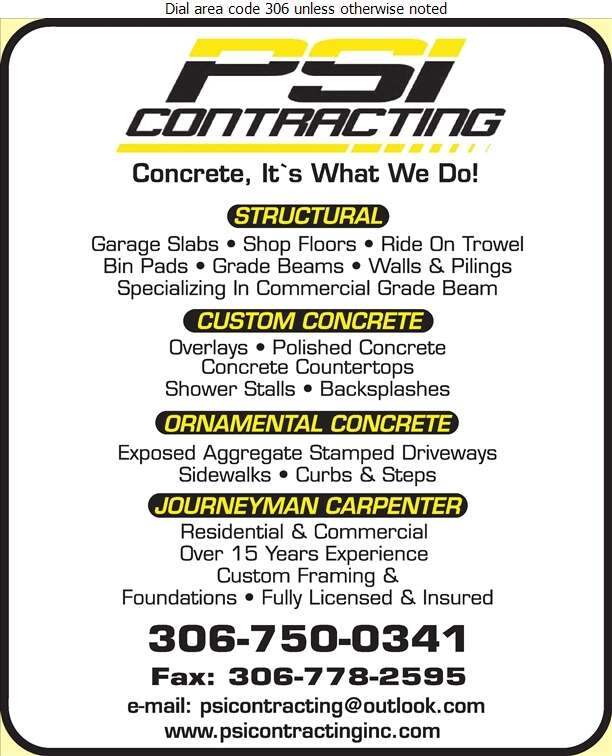 PSI Contracting - Concrete Contractors Digital Ad
