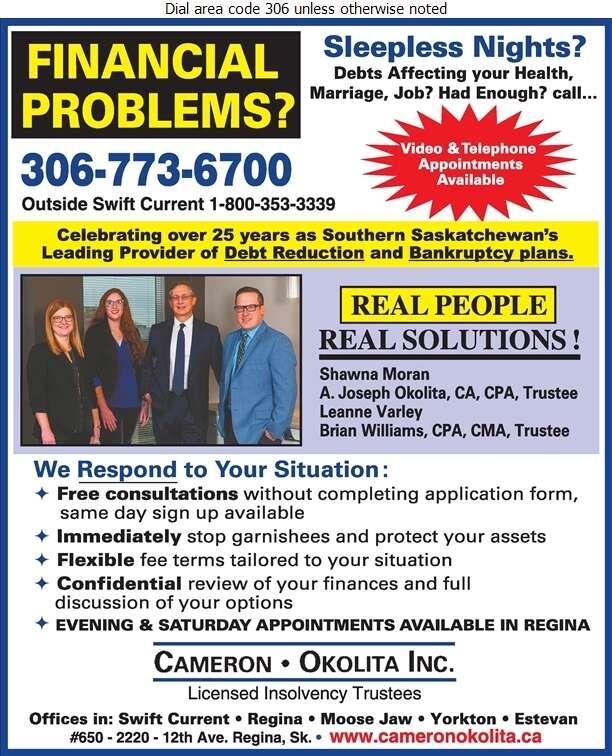 Cameron-Okolita Inc - Licensed Insolvency Trustees Digital Ad