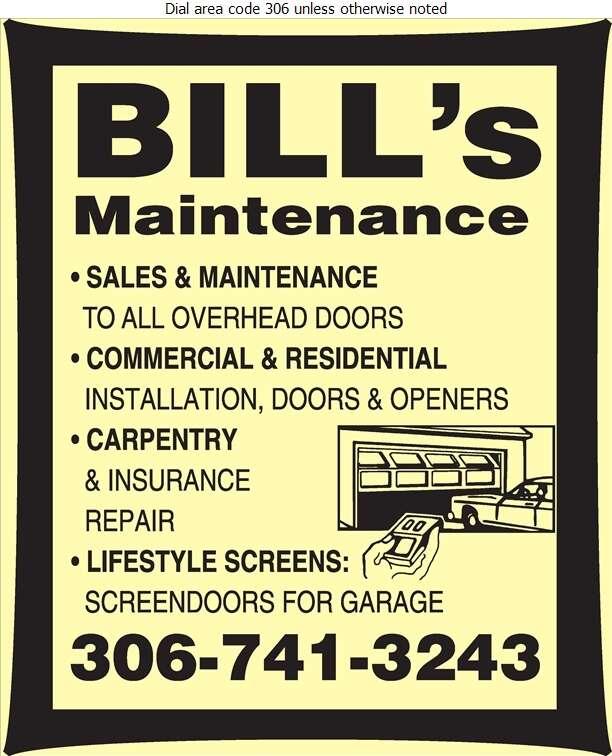Bill's Maintenance - Doors Overhead Digital Ad