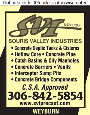 Souris Valley Industries (1977) Ltd - Septic Tanks Sales & Service Digital Ad