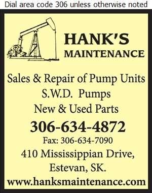 Hank's Maintenance & Service Co Ltd - Oil & Gas Well Service Digital Ad