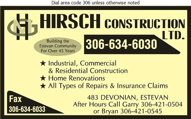 Hirsch Construction Ltd (Bryan Hirsch) - Contractors General Digital Ad