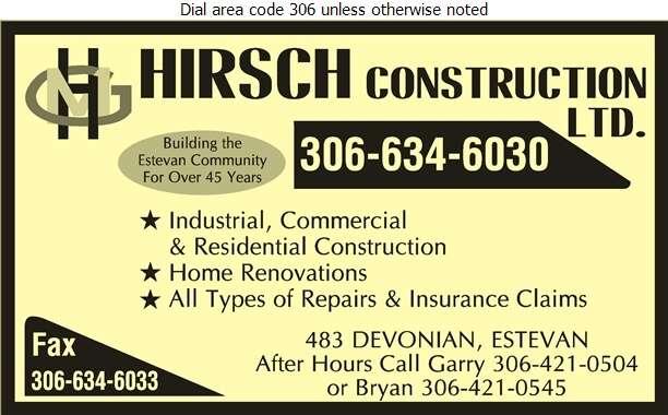 Hirsch Construction Ltd (Bryan Hirsch) - Contractors General Digital Ad