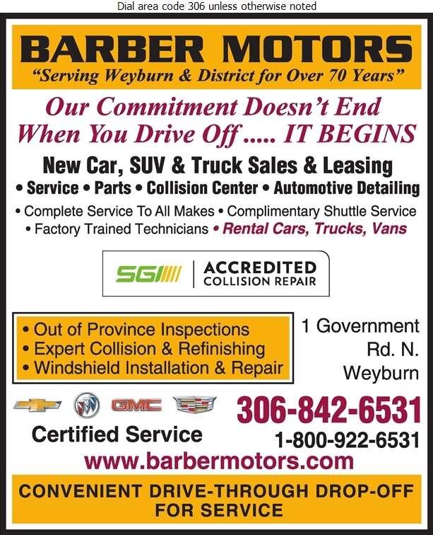Barber Motors Chevrolet Buick GMC Cadillac - Auto Dealers New Cars Digital Ad