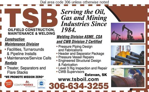 TSB Oilfield Construction & Maintenance (Kyle Fedyk TSB Welding Division) - Oil & Gas Well Service Digital Ad