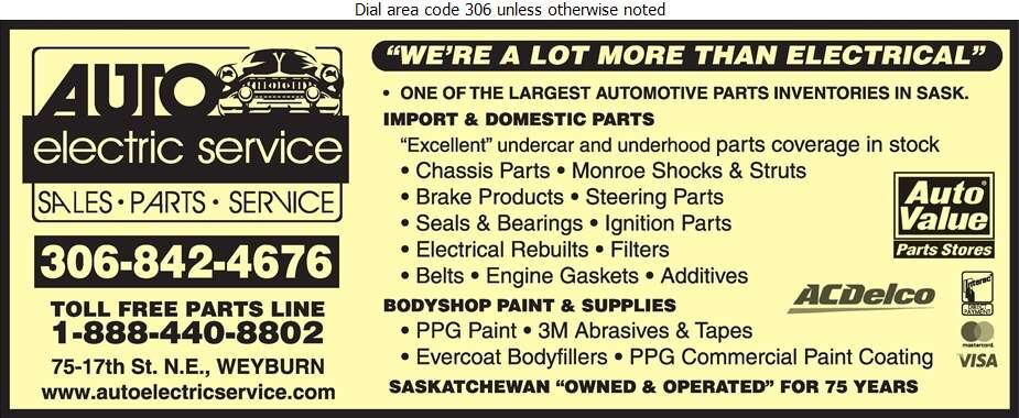 Auto Electric Service Ltd - Auto Parts & Supplies Retail Digital Ad