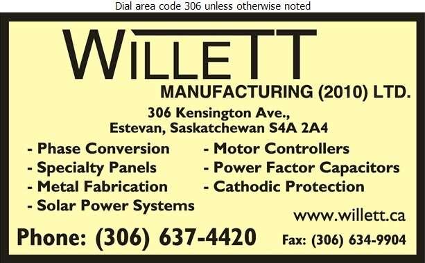 Willett Manufacturing 2010 Ltd - Electric Equipment Mfrs Digital Ad