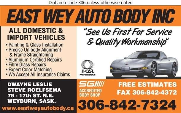 East Wey Auto Body Inc - Auto Body Repairing Digital Ad