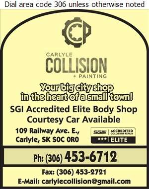 Carlyle Collision & Painting Ltd - Auto Body Repairing Digital Ad