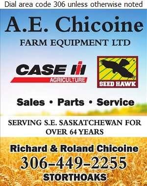 Chicoine A E Farm Equipment Ltd - Agricultural Implements Sales, Service & Parts Digital Ad