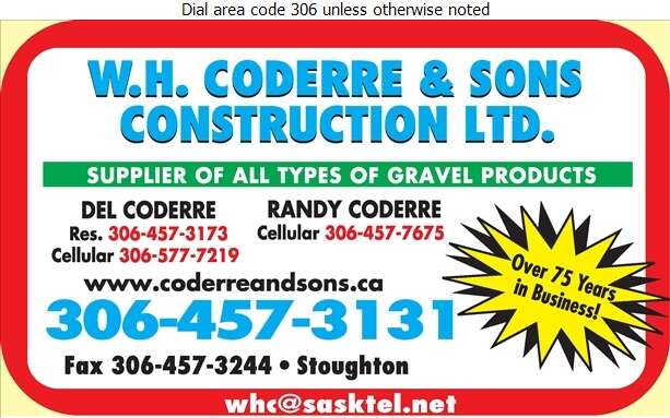 Coderre W H & Sons Construction Ltd - Sand & Gravel Digital Ad