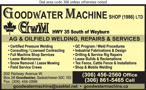 Goodwater Machine Shop 1986 Ltd - Oil & Gas Well Service Digital Ad