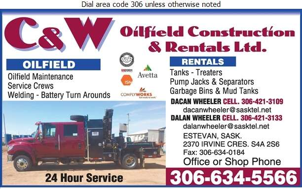C & W Oilfield Construction & Rental Ltd - Oil & Gas Well Service Digital Ad