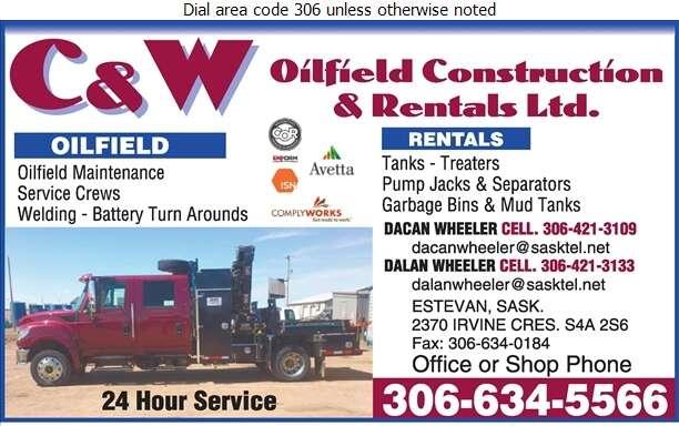C & W Oilfield Construction & Rental Ltd (Dacan Wheeler) - Oil & Gas Well Service Digital Ad