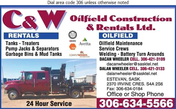 C & W Oilfield Construction & Rental Ltd - Rental Service General Digital Ad