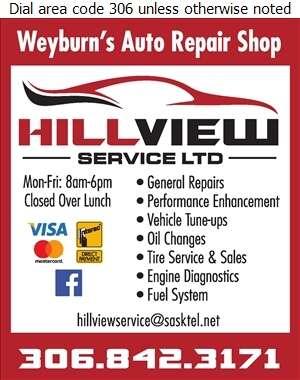 Hillview Service Ltd - Auto Repairing Digital Ad
